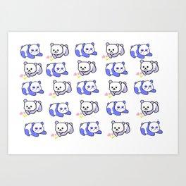 Sleepy panda and flower panda Art Print