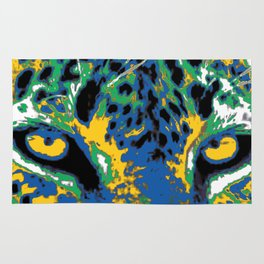 leopard yellow eyes Rug