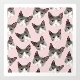 girly cute pink pattern snowshoe cat Art Print