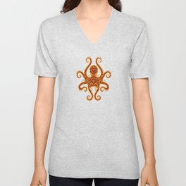 Intricate Red and Yellow Octopus Unisex V-Neck