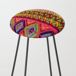Colorful Guatemalan Alfombra Counter Stool