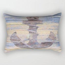 Rusty Anchor Grey Blue Beach Lake House Coastal Home Decor A177 Rectangular Pillow
