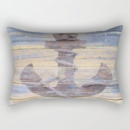 Rusty Anchor Grey Blue Beach Lake House Coastal Home Decor A177 Rectangular Pillow