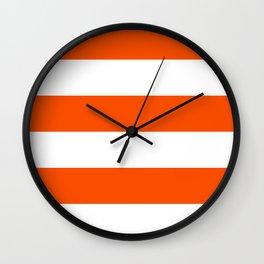 Wide Horizontal Stripes - White and Dark Orange Wall Clock