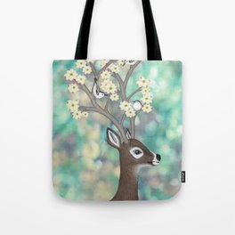 white tailed deer, white breasted nuthatches, & dogwood blossoms Tote Bag