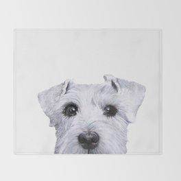 Schnauzer original Dog original painting print Throw Blanket