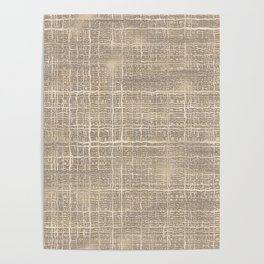 Beige Taupe Brown Jute Burlap Textile Pattern Poster