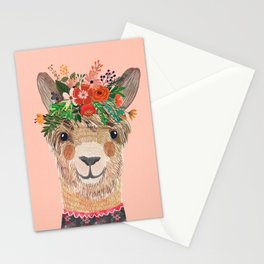 Llama with Flower Crown by Mia Charro Stationery Cards