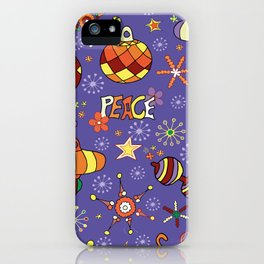 '70s peaceful retro Christmas pattern iPhone Case
