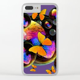 COLORFUL FUN  BUBBLES & YELLOW BUTTERFLIES PURPLE FANTASY Clear iPhone Case