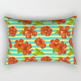 Summer Red Hibiscus Seamless Pattern Rectangular Pillow