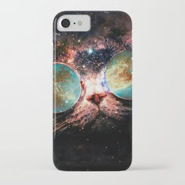 Cool Space Cat with Telescope Glasses in space iPhone Case