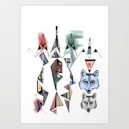 Mountian Wolves  Art Print