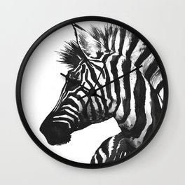 Zebra head - watercolor art Wall Clock
