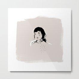 Modern Pencil Drawing Fine Art Portrait. Asian woman. Metal Print