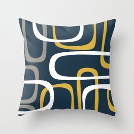 Mid Century Modern Loops Pattern in Light Mustard Yellow, Navy Blue, Gray, and White Throw Pillow