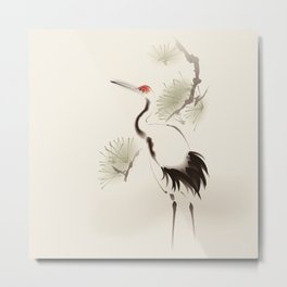 Oriental Red-Crowned Crane 002 Metal Print
