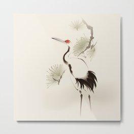 Oriental Red-Crowned Crane 002 Metal Print