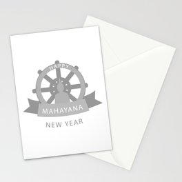 Wheel of Dharma and Buddhist new year Mahayana greetings- Buddha sitting in lotus position Stationery Cards