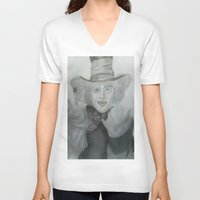 mad hatter V-neck T-shirts featuring Mad hatter by crazy_feline