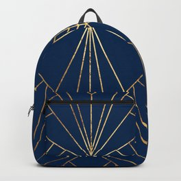 Navy & Gold Art Deco - Large Scale Backpack