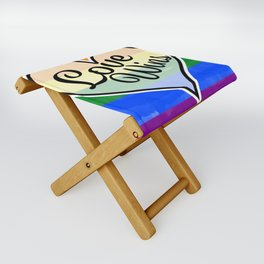 Pride Flag Love is Love-Water Color Graphic  Design  Folding Stool