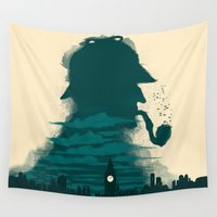 sherlock holmes Wall Tapestries featuring Sherlock Holmes by Electra