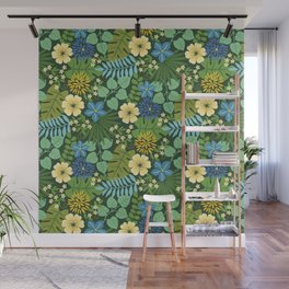 Tropical Blue and Yellow Floral Wall Mural