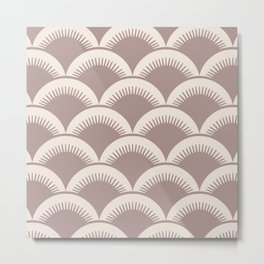 Japanese Fan Pattern Beige 2 Metal Print