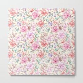Elegant ivory pink green coral vintage flowers Metal Print
