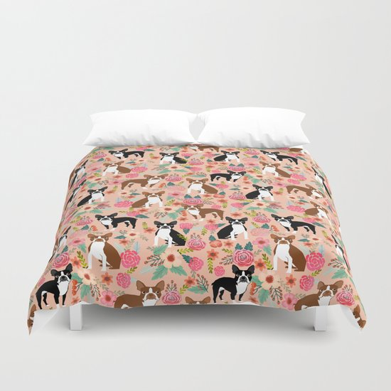 Boston Terrier cute floral pattern spring summer happy pet portrait dog person gift must haves dogs Duvet Cover