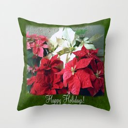 Mixed color Poinsettias 3 Happy Holidays P1F1 Throw Pillow