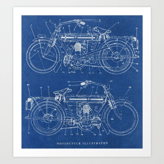 Motorcycle blueprint art print by marcusmelton society6 malvernweather Gallery