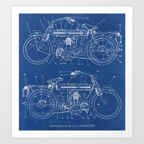 Motorcycle blueprint art print by marcusmelton society6 malvernweather Images