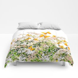 WHITE ART GARDEN ART OF YELLOW BUTTERFLIES Comforters