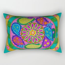 Paisley heart magic Mandala, acrylic painting on tile Rectangular Pillow