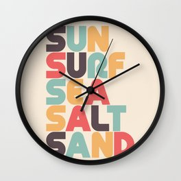 Sun Surf Sea Salt Sand Typography - Retro Rainbow Wall Clock