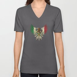 Eagle Mexican Design With Mexican Flag Design For Mexican Pride Unisex V-Neck