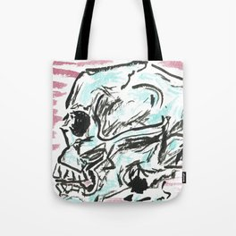 Chill skull - color ink skull on watercolor paper Tote Bag