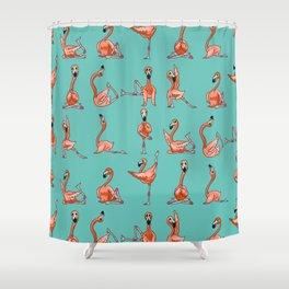 Flamingo Yoga Shower Curtain