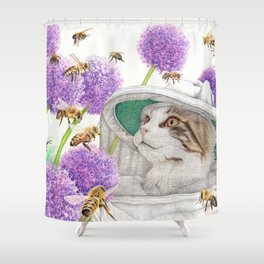 Bee Cat Shower Curtain