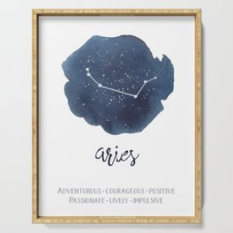 Aries Watercolor Constellation and Traits Serving Tray