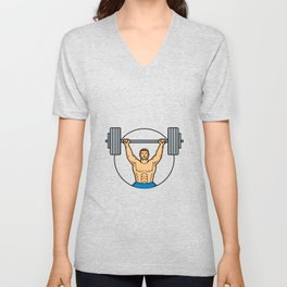 Weightlifter Lifting Barbell Mono Line Art Unisex V-Neck