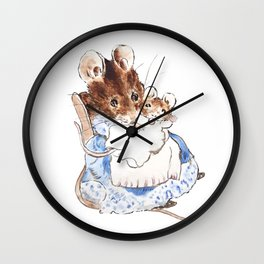 Mrs Mouse and baby Peter Rabbit  Beatrix Potter Wall Clock