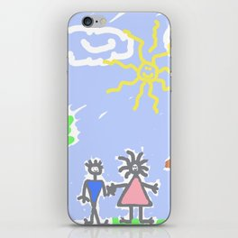 child's drawing with happy family iPhone Skin