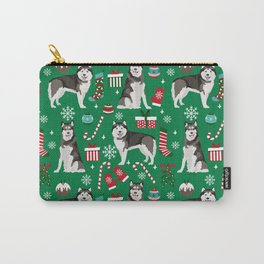 Alaskan Malamute dog christmas pattern candy canes christmas presents Carry-All Pouch