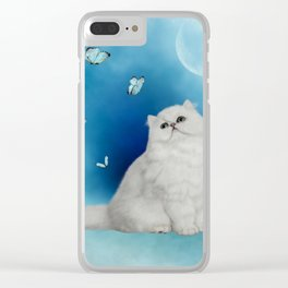 Cute chinchilla cat with butterflies Clear iPhone Case