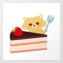 cute kawaii hamster with fork, Sweet cake decorated with fresh Strawberry, pink cream and chocolate Art Print