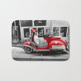 Red Vintage Vespa in Arles Bath Mat