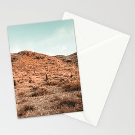Saguaro Mountain // Vintage Desert Landscape Cactus Photography Teal Blue Sky Southwestern Style Stationery Cards